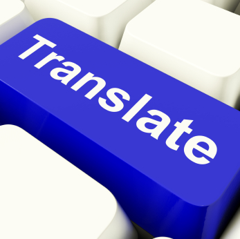 Translate Computer Key In Blue Showing Web Translator