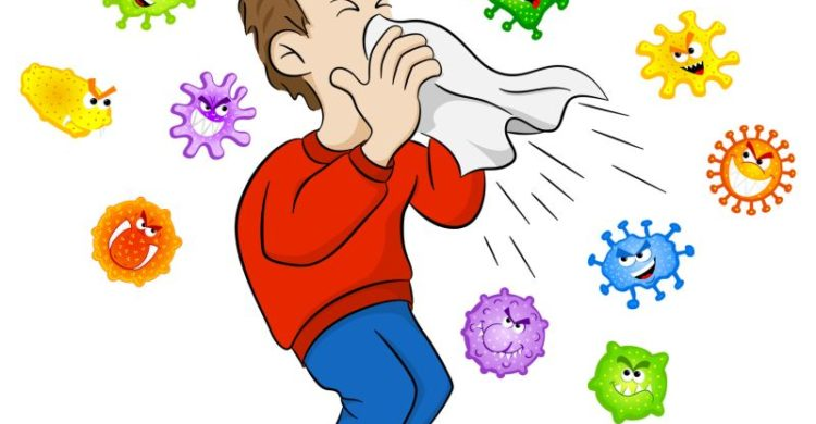 vector illustration of a sneezing man with germs